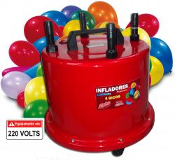 Infladores de balões 4 bicos Vermelho Profissional