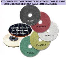 Kit completo para limpeza com suporte de velcro e discos de polimento 350mm
