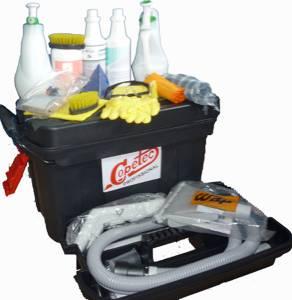 Carrinho com kit limpeza para Extratoras com 17 itens
