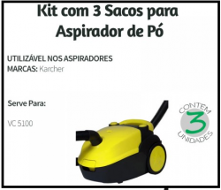 Saco Descartavel VC 5100 Karcher c/ 3 unidades