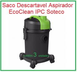 Saco Descartavel Aspirador Eco Clean IPC Soteco c/ 3 unidades