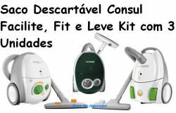 Saco Descartavel Consul Facilite, Consul Fit e Consul Leve kit com 3 pçs