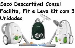 Saco Descartavel Consul Facilite, Consul Fit e Consul Leve kit com 3 pçs