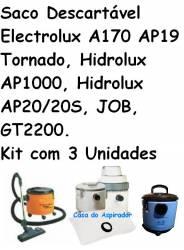 Saco Descartável Electrolux A170 AP19 Tornado, Hidrolux AP1000, Hidrolux AP20/20S, JOB, GT2200.Kit com 3 Unidades